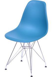 Cadeira Eames Dkr- Azul Petrã³Leo & Prateada- 80,5X46Or Design