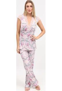 Pijama Com Renda- Rosa Claro & Cinza- Fruit De La Pafruit De La Passion