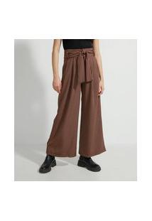 Calça Pantalona Alfaiataria Com Estampa Xadrez E Cinto Faixa
