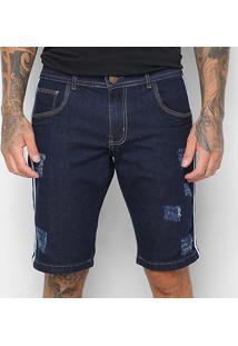Bermuda Jeans Coffee Listra Lateral Masculina - Masculino-Azul Escuro
