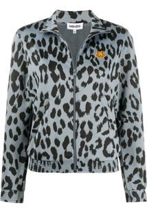 Kenzo Leopard Print Bomber Jacket - Azul