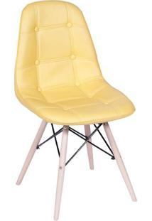 Cadeira Eames Botonê- Amarela & Madeira Clara- 83X44Or Design