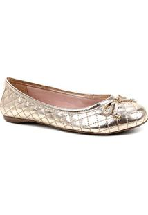 Sapatilha Shoestock Clássica Matelassê Metalizada Feminina - Feminino-Dourado