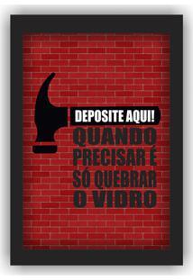 Quadro Porta Dinheiro Cofre Madeira E Vidro Decoração Quebre O Vidro 12X17 - Art Frame