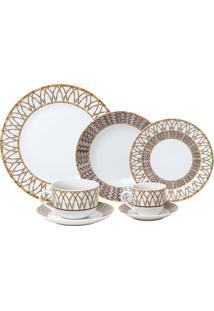 Aparelho De Jantar Wolff Bamboo 42 Peças Porcelana Branco E Dourado