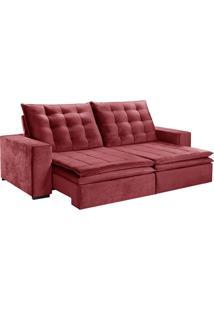 Sofá 3 Lugares Retrátil E Reclinável Boa Vista L Veludo Vermelho