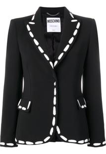 Moschino Print Detailed Fitted Blazer - Preto