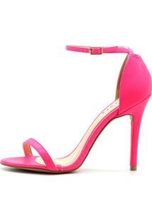 Sandália Royalz Lisa Salto Alto Fino Tira Neon Pink Rosa