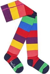 Meia Calça Listrada- Roxa & Vermelhahappy Socks