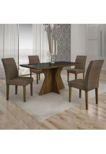 Conjunto De Mesa De Jantar Creta I Com 4 Cadeiras Olímpia Linho Preto E Marrom