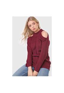 Blusa Tricot Polo Wear Off Shoulders Vinho