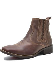 Bota Botina Country Em Couro Ec Shoes Café