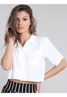 Camisa Feminina Cropped Com Bolso Manga Curta Off White