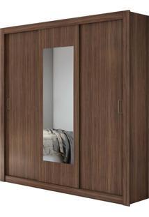 Guarda Roupa Casal Com Espelho 3 Portas 3 Gavetas Apoena Marrom - Tricae