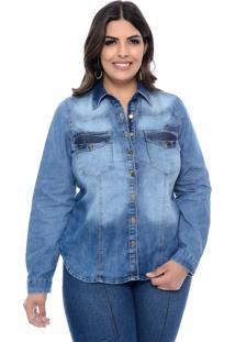 Camisa Manifesto Jeans Plus Size Liquid Azul
