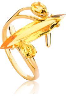 Anel De Ouro 18K Gota Alongada Navete E Pedras De Citrino-Coleção Sunlight