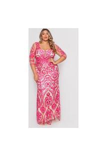 Vestido Almaria Plus Size Pianeta Longo Tule Bordado Rosa