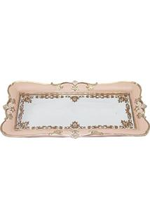 Bandeja Em Poliresina Com Espelho, Moas, Rosa, 32 X 17 Cm
