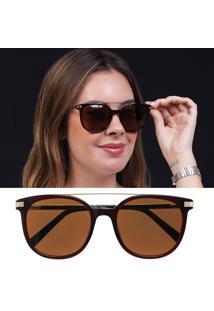Óculos De Sol Feminino Marrom Acetato Lente Polarizada