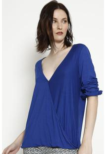 Blusa Com Transpasse - Azul Escuro - Lanã§A Perfumelanã§A Perfume