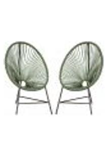 Cadeiras De Áreas Acapulco Bahamas Verde Musgo Corda Sintetica ( 2 Unidades)