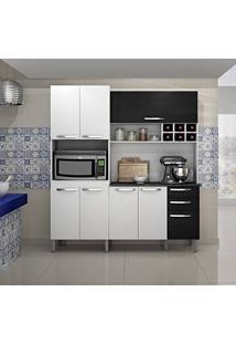 Armário De Cozinha 8 Portas Milão Sallêto Móveis Branco/Preto Fosco