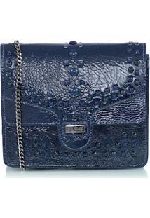 Bolsa Pequena Tachas Em Verniz Azul