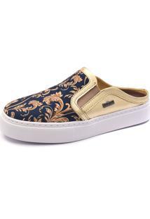 Slip On Mule Shoes Grand Floral Azul Marinho Com Dourado - Kanui