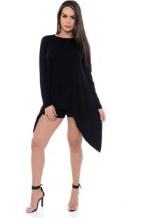 Blusa Assimétrica B'Bonnie Com Bico E M/L Stefani Preta