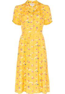 Hvn Vestido Estampado Com Gaivota 'Maria' - Amarelo
