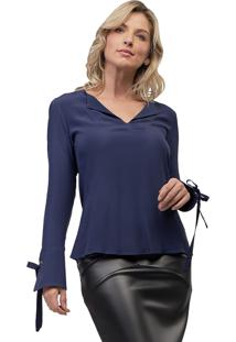 Blusa Viscose Mx Fashion Willow Azul Marinho