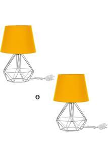 Kit 2 Abajur Diamante Dome Amarelo Com Aramado Cromado - Tricae