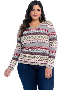 Blusa Suéter Dianna Plus Size Cinza E Rosa Vermont