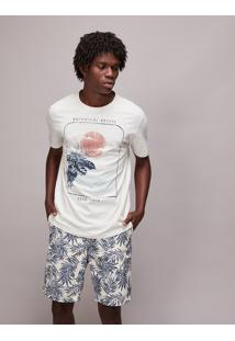 "Camiseta Masculina ""Botanical Breeze"" Manga Curta Gola Careca Off White"