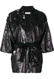 Black Coral Blazer Com Cinto - Preto