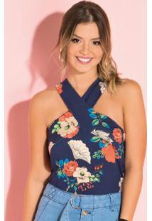 Blusa Floral Azul Com Alças Largas