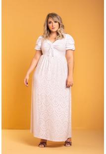Vestido Longo Laise Branco Plus Size