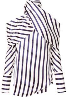 Monse Striped Cold Shoulder Blouse - Azul