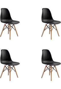 Kit 04 Cadeiras Eiffel S/ Braço Preta Rivatti