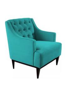 Poltrona Decorativa Clássica Capitonê Suede Azul Tiffany - Ds Móveis