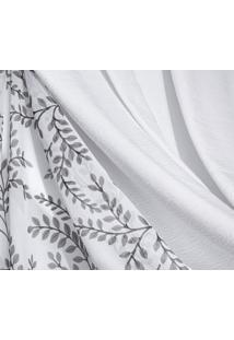 Cortina Sicília Tafetá Com Voil Estampado 3M X 2,70M Branco