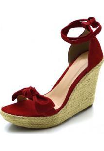 2b015a86e R$ 179,90. Zattini Sandália Vermelha Com Salto Alto Com Salto Anabela Lã  Camurça Moderna Laço ...