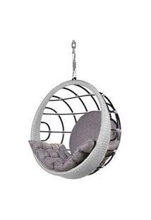 Poltrona De Balanco Bowl Em Aluminio Revestido Em Corda Cor Prata Com Suporte De Teto - 45325 45325