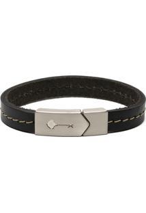 Pulseira Key Design - Hustle Silver Leather - Preto