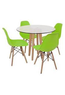 Conjunto Mesa De Jantar Em Vidro 90Cm Com Base Vértice + 4 Cadeiras Eiffel - Verde