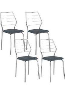 Cadeira 1716 Cromada 04 Unidades Jeans Carraro