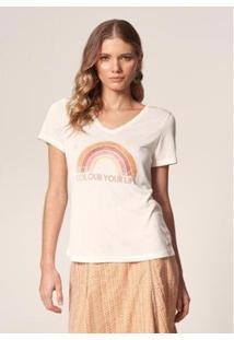 T-Shirt Mob Malha Tricot Colour Your Life Feminina - Feminino-Branco
