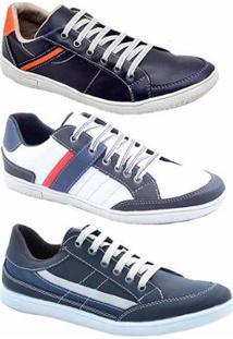 Kit 3 Pares Sapatênis Numeração Especial Dexshoes Masculino - Masculino-Azul+Branco