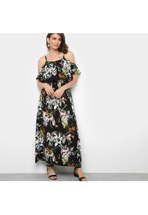 2e2bd6c52 ... Vestido Jin Evasê Longo Floral Sobreposição - Feminino