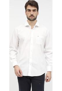Camisa Lisa Com Bolso & Bordado Aramisâ® - Brancaaramis